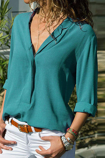 A Lapel  Patchwork  Brief  Plain  Long Sleeve  Blouses