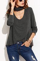 Halter  Asymmetric Hem  Plain T-Shirts