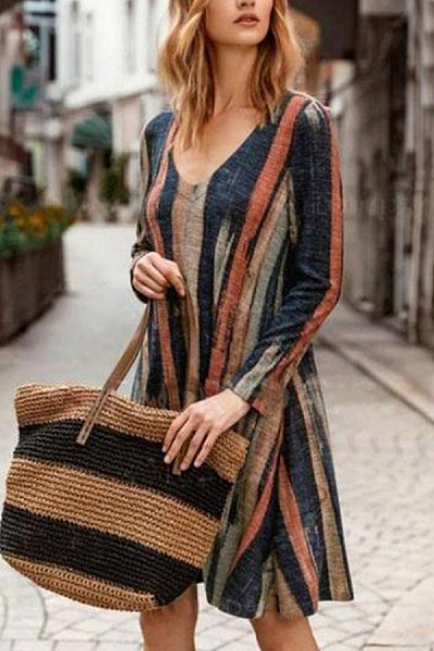 Casual Print Striped V-Neck Pocket Long Sleeve Dress