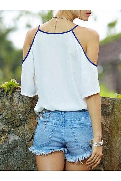 Spring Summer  Polyester  Women  Open Shoulder  Floral Printed  Half Sleeve Blouses