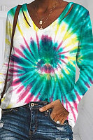 V-neck Tie-dye Printed Long-sleeved T-shirt