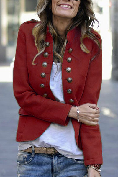 Fashion Button Suit Long Sleeve Jacket