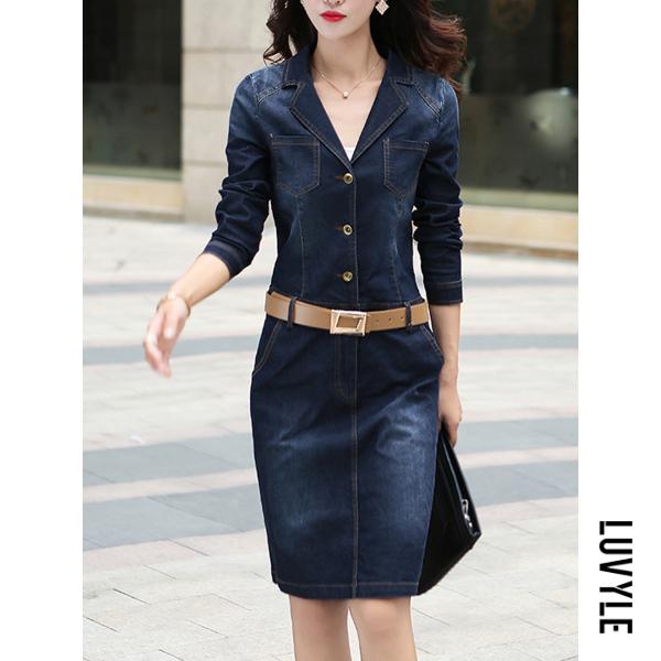 Blue Lapel Denim Light Wash Pocket Belt Bodycon Dress Blue Lapel Denim Light Wash Pocket Belt Bodycon Dress