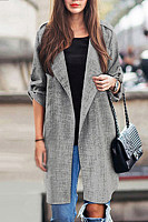 Fold Over Collar  Plain Trench Coat