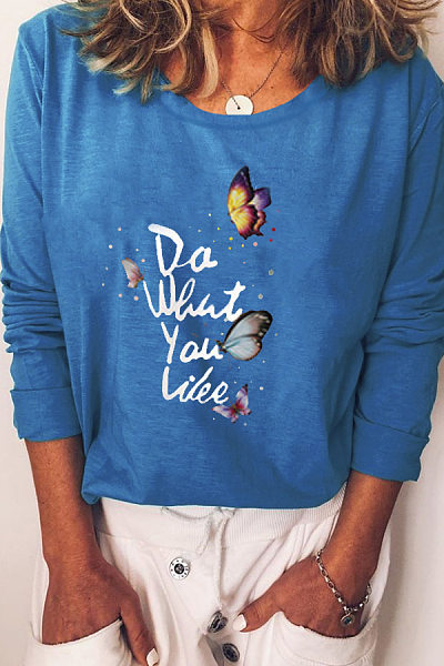 Casual Round Neck Loose-Fitting Butterfly T-Shirt