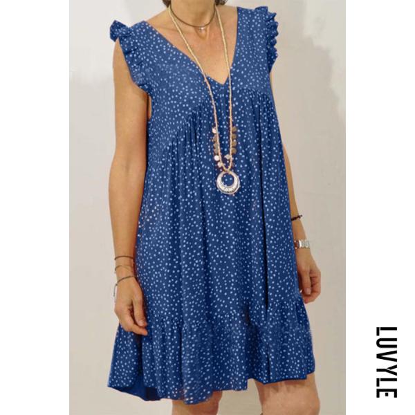 Blue Casual V Neck Floral Printed Dress Blue Casual V Neck Floral Printed Dress
