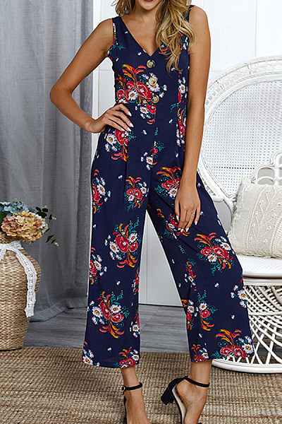 V Neck  Printed  Sleeveless Jumpsuits