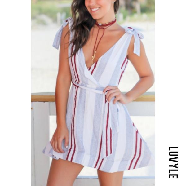 White V Neck Belt Stripes Sleeveless Skater Dresses White V Neck Belt Stripes Sleeveless Skater Dresses