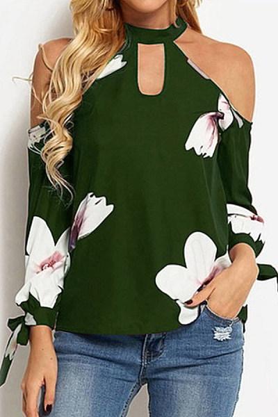 Open Shoulder Collar Floral Blouse
