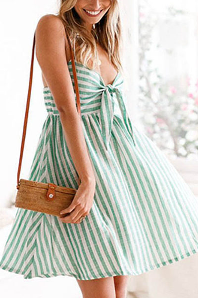Spaghetti Strap  Bowknot  Striped  Sleeveless Skater Dresses