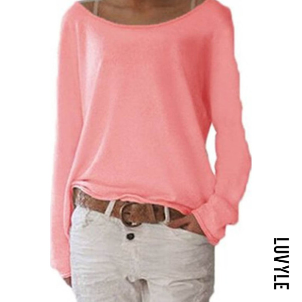 Pink Loose Round Neck Long Sleeve Plain T-Shirts Pink Loose Round Neck Long Sleeve Plain T-Shirts