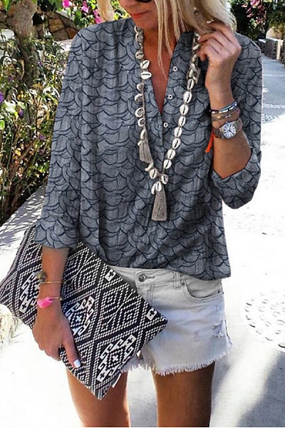Casual Printed Three-Button Collar Stand-Up Long-Sleeved Shirt