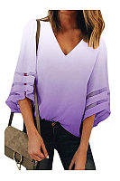 V Neck Mesh Casual Shirts