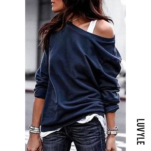Blue One Shouder Casual Soft Long Sleeve T-Shirt Blue One Shouder Casual Soft Long Sleeve T-Shirt