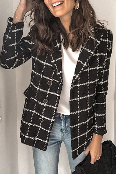 Fashion long sleeve fold over collar plaid blazer