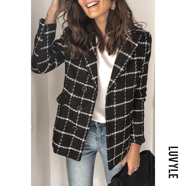 Fashion long sleeve fold over collar plaid blazer - from $32.00