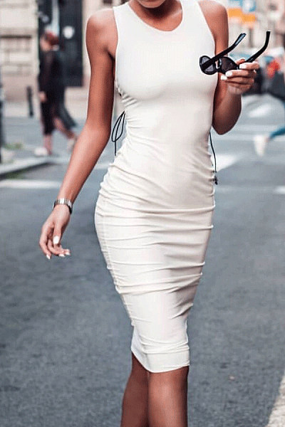 Round Neck  Plain  Sleeveless Bodycon Dresses