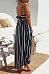 Spaghetti Strap  Backless High Slit  Striped  Sleeveless Maxi Dresses