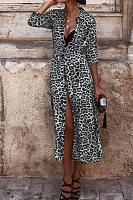 A Lapel Long Sleeve Leopard Maxi Dress