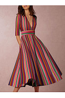 Multicolor Sexy Deep V-Neck Solid Midi Skater Dress