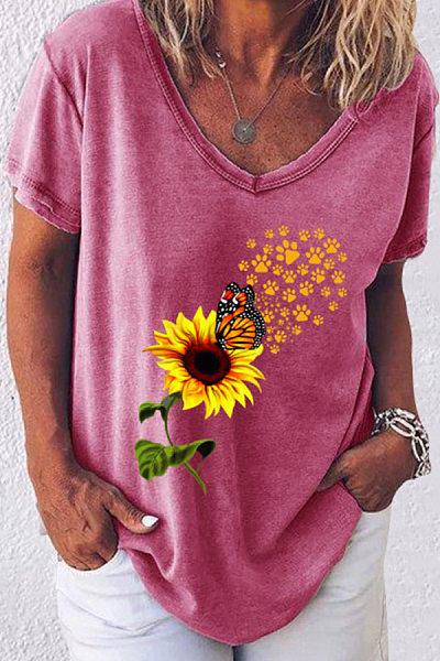 Sunflower V Neck Loose T-shirt