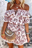 Off Shoulder Floral Print Skater Dress