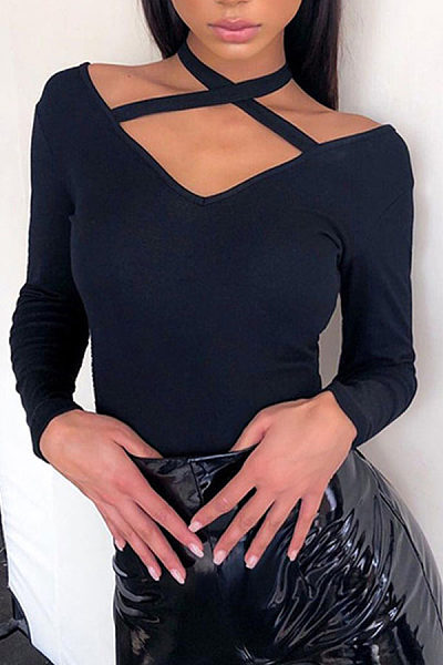Sexy V Neck Hollow Out Long Sleeve Plain T-Shirts