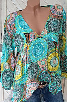 V-Neck Color Block Printed Blouses