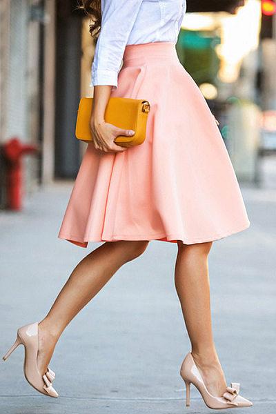 Plain Midi Flared Skirts