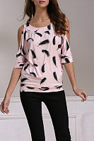 Round Neck  Cutout  Printed T-Shirts