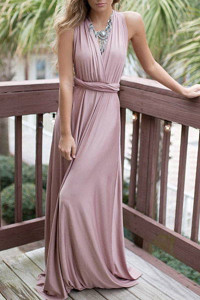 Surplice Backless Sleeveless Maxi Dresses
