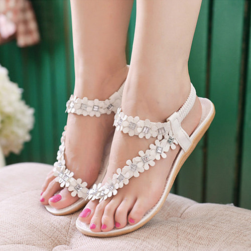 Embossed Beaded Flowers  Faux Leather  Flat  Sandals