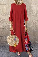 Round Neck Splice Maxi Dress