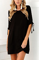 Round Neck  Plain  Half Sleeve Casual Dresses