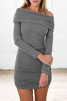 Off Shoulder  Plain  Long Sleeve Bodycon Dresses