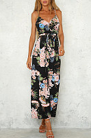Side Slit  Belt  Floral Jumpsuits