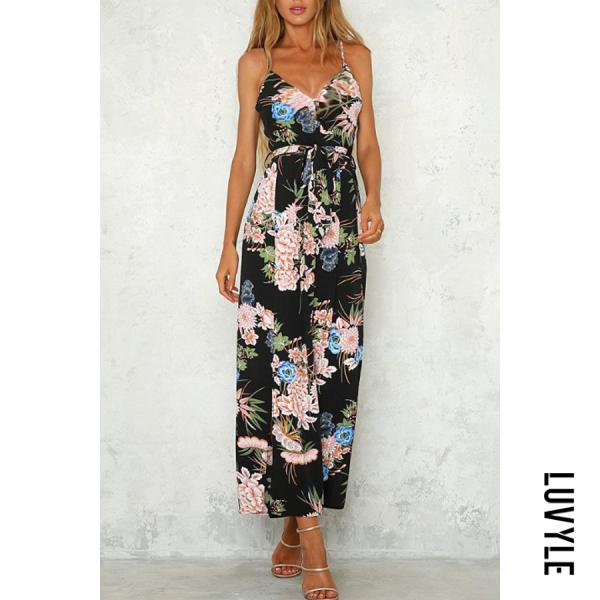 Black Side Slit Belt Floral Jumpsuits