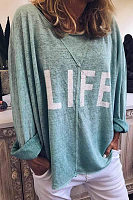 Round Neck Letters Loose-Fitting Casual T-Shirts