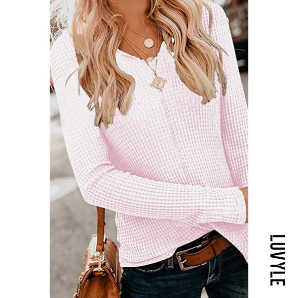 Pink V Neck Long Sleeve Plain Casual T-Shirts Pink V Neck Long Sleeve Plain Casual T-Shirts