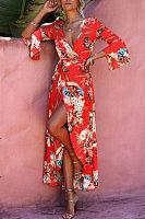 Deep V Neck  High Slit  Floral Printed  Bell Sleeve  Short Sleeve Maxi Dresses