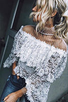 Chic Sheer Mesh Lace Patchwork  Layered Ruffles Blouse
