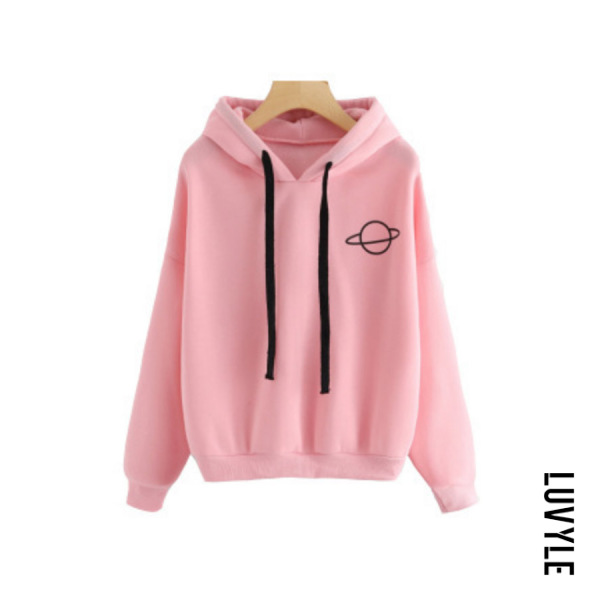 Pink Casual Long Sleeve Cartoon Hoodies Pink Casual Long Sleeve Cartoon Hoodies