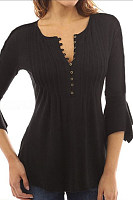 Round Neck  Single Breasted  Plain  Bell Sleeve Blouses