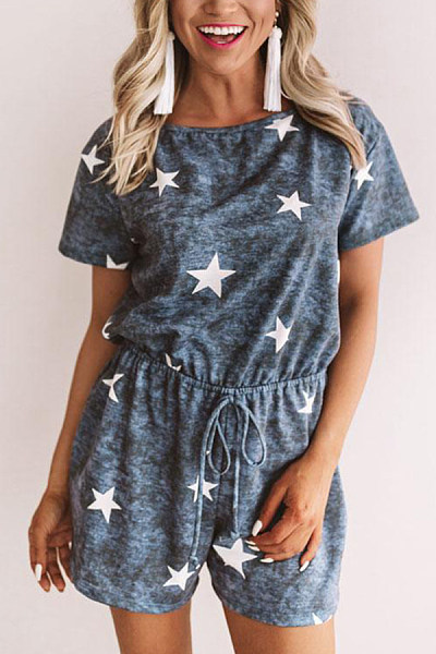 Round Neck  Loose Fitting  Geometric  Short Sleeve  Playsuits
