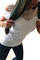 Round Neck  Lace Patchwork Plain T-Shirts