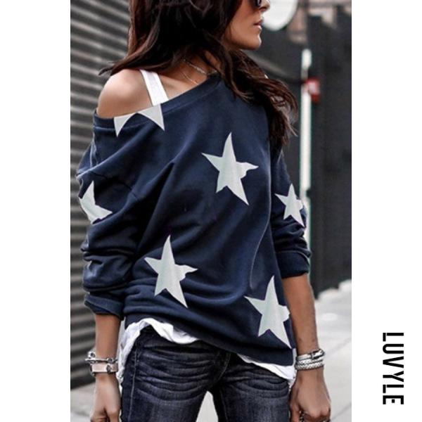 Blue Open Shoulder Stars Printed T-Shirts Blue Open Shoulder Stars Printed T-Shirts