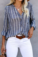 Casual V-neck Long-sleeved Striped Shirt