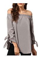 Spring  Polyester  Women  Off Shoulder  Asymmetric Hem  Plain  Tie Sleeve  Three-Quarter Sleeve Blouses