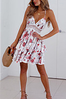 Backless  Back Hole  Floral  Sleeveless Skater Dresses