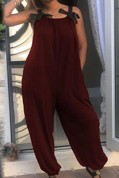 Spaghetti Strap  Loose Fitting  Plain  Sleeveless Jumpsuits